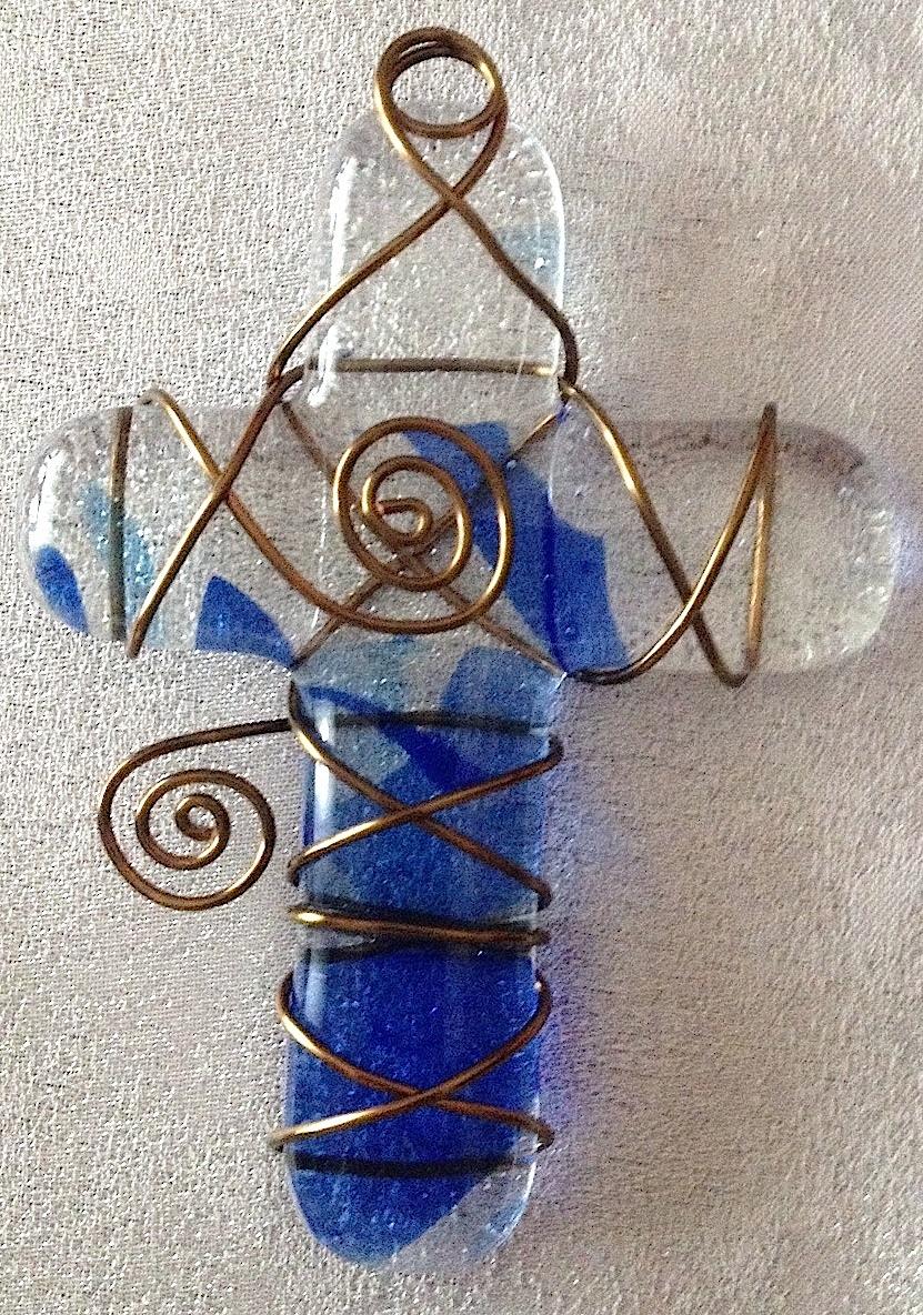 """Small Cross: Blue Confetti (approx. 3"""" x 2.25""""), SOLD"""