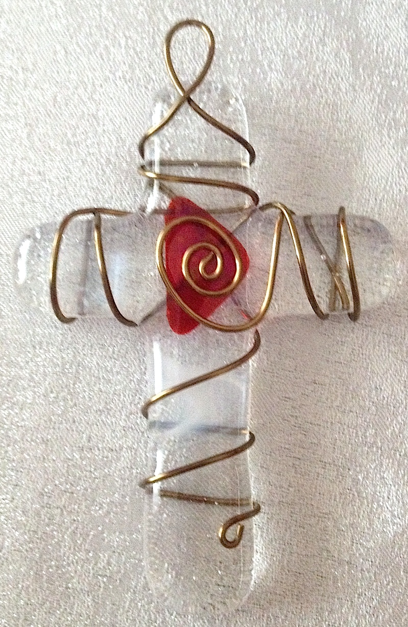 """Small Cross: White (approx. 3"""" x 2.25""""), SOLD"""