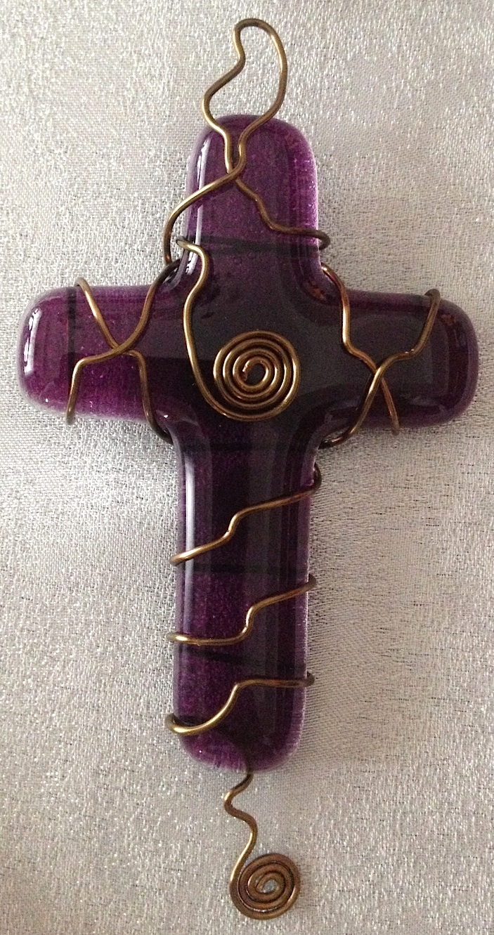 "Small Cross: Plum 02 (approx. 4.25"" x 2.25""), $10"