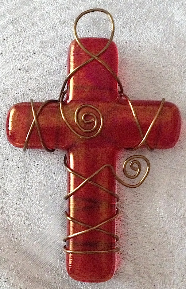 """Small Cross: Red Iridized (approx. 3.5"""" x 2.25""""), SOLD"""