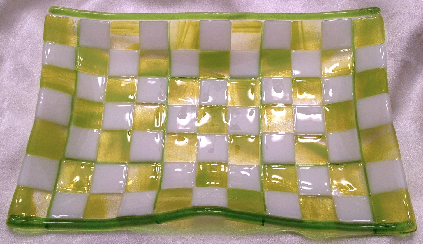 """Wavy Sushi Tray Fused Streaky Spring Green and White Opaque Glass in a Checkerboard Pattern with Spring Green Glass Rod & Stringer Detail. (8"""" x 12""""), $60"""